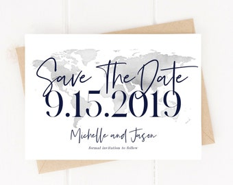 Editable World Map Save The Date Invitation Template Destination Wedding Traveler Instant Download