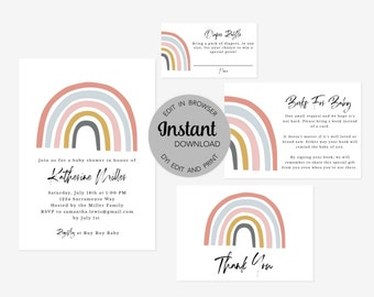 Editable Rainbow Baby Shower Invitation Bundle (Invitation, Books for Baby, Diaper Raffle and Thank You Card), Instant Download