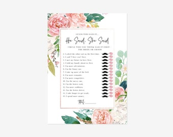 Editable Pink and White Floral He Said, She Said Game, Floral Bridal Shower, Bridal Shower Game,  Printable Template, Instant Download