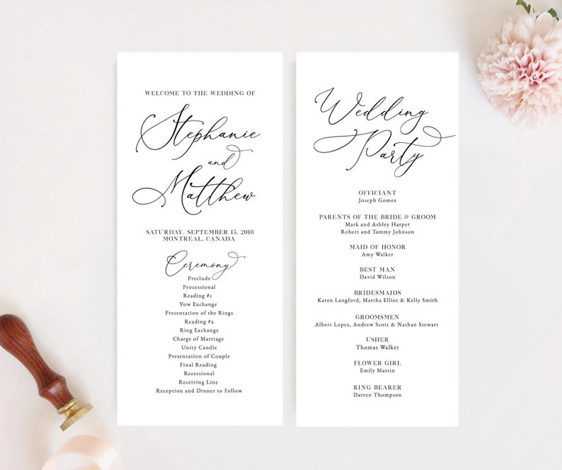 Editable Wedding Program Template, Modern Wedding Program, Printable  Template, Instant Download