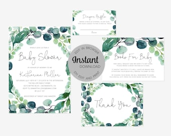 Editable Greenery Baby Shower Invitation Bundle (Invitation, Books for Baby, Diaper Raffle and Thank You Card), Instant Download