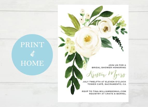 Editable Watercolor White Floral Bridal Shower Invitation Etsy