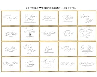 BUNDLE DEAL! 20 Editable Wedding Signs, Includes 2 Sizes 7x5 and 10x8, Wedding Decor, Wedding Bundle, Instant Download