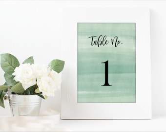 Table Numbers 1-60 - Wedding/Green Watercolor - Black or White Font