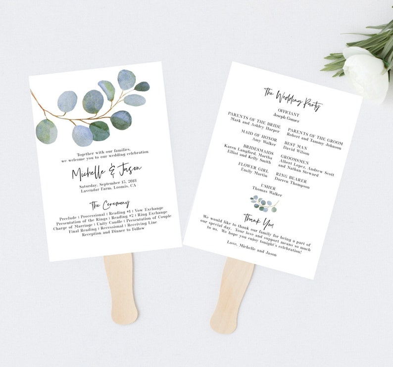 Wedding Program Fan Template.Editable Wedding Program Fan Template Greenery Wedding Etsy