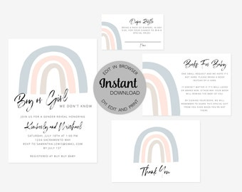 Editable Rainbow Gender Reveal Invitation Bundle (Invitation, Books for Baby, Diaper Raffle and Thank You Card), Instant Download