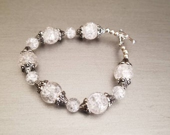 Gorgeous handmade clear crystal beaded bracelet.