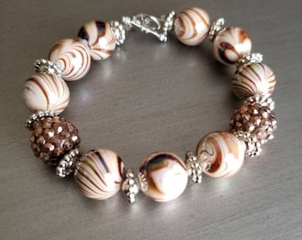 Beautiful copper and brown handmade beaded bracelet