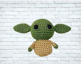 Crochet Yoda Plush Star Wars Toy Amigurumi small Handmade Made to order