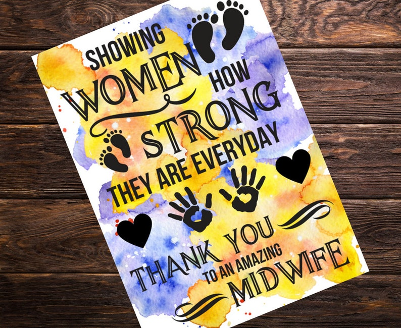 Thank You Card For Midwife Gift Ideas Midwife Card After Birth Etsy