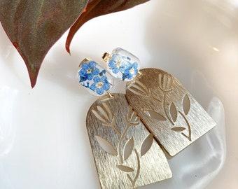 Pressed forget me not flower earrings, Alaska states flower, statement earrings, brass earrings, flora l jewelry, preserved flower