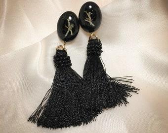 Alaska real preserved lichen resin earrings, presssed dried arctic lichen , black earrings, botanical jewelry, lichen earrings