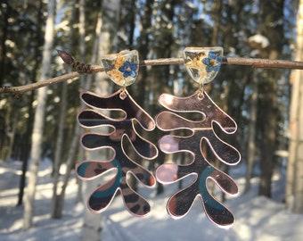Alaska statement earrings, pressed forget me not jewelry, mirror acrylic earrings, pink earrings