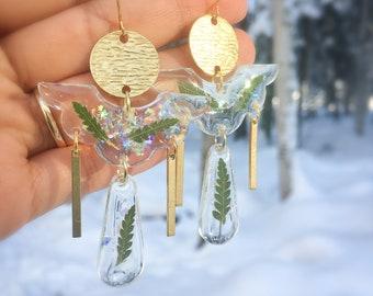 Alaska Fern earrings with brass charms, big statement earrings, botanical resin earrings, clear earrings, resin jewelry