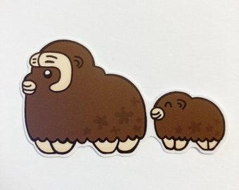 Alaska Muskox sticker, mama and baby Muskox, musk oxen sticker, arctic animal sticker, cute baby animal, ox sticker