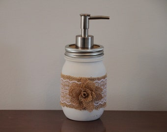 FREE Shipping! Burlap and Lace Mason jar soap dispenser with flower