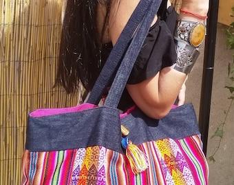 Ethnic bag, denim bag, casual bag
