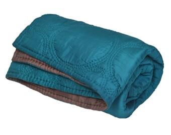 Silk quilt - Silk bedspread - Quilted bedspread - Silk bedcover - Silk blanket - Blue bronze 100% natural silk quilt -