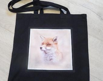 Fox bag, reuseable bag, tote, Shopping bag, Fox gift bag,Shoulder bag, Fox, Woodland