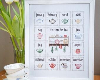 Modern cross stitch pattern PDF / Teapot Calendar by Bluebird Needleworks / tea cross stitch chart, cross stitch sampler, herbs cross stitch