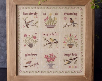 Birds and flowers primitive cross stitch pattern / Live Simply Sampler chart by Bluebird Needleworks / little bird easy cross stitch design