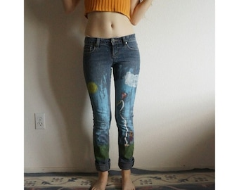 Hand Painted Kite Flying Jeans