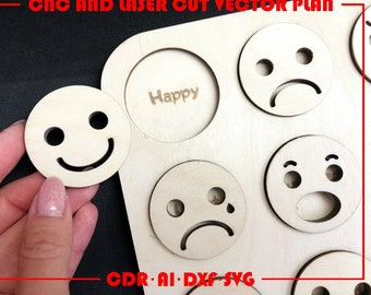 Emoji Puzzle for child   Emoji puzzle  Laser cut vector download Laser Cut Pattern   Dxf cdr ai SVG files   CNC file