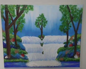 Spring Waterfall Forest Canvas Art Painting