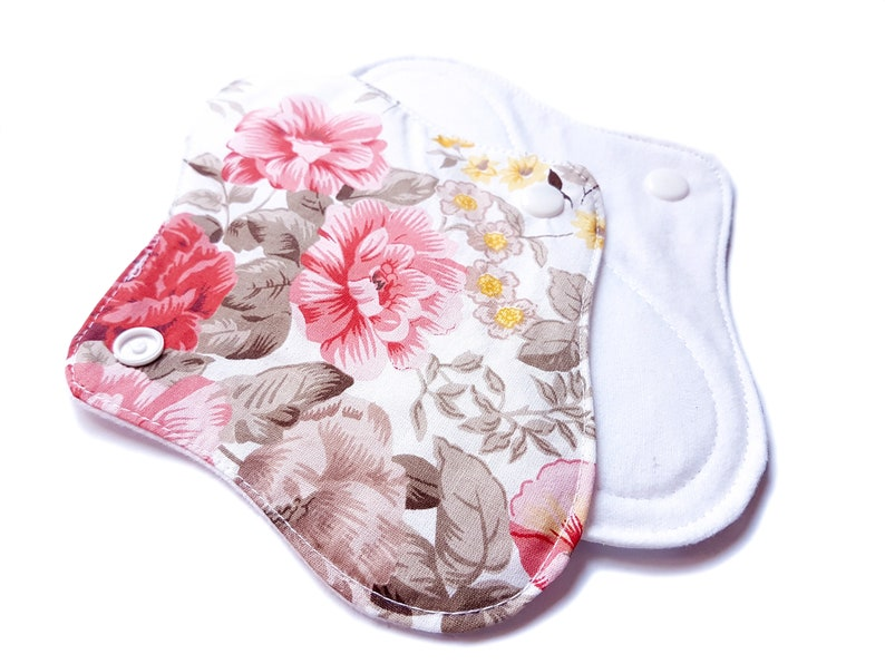 3 Pack 7 Organic Cloth Reusable Pads Red Flowers Zero Waste
