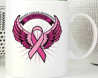 Breast Cancer Awareness Survivor Pink Ribbon Merchandise White11oz Mug