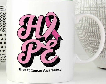 Hope Breast Cancer Awareness Pink Ribbon Awesome White 11oz Coffee Mug