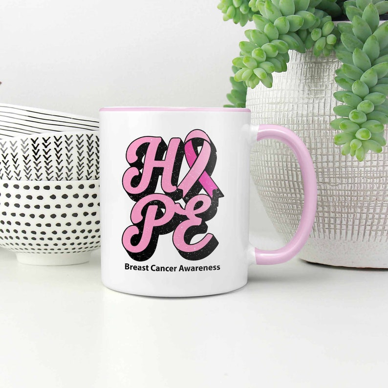 Hope Breast Cancer Awareness Merchandise Products Pink Ribbon Gifts Ideas  11oz 7Colors Accent Ceramic Coffee Mug