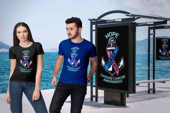 Courage espoir foi thyroïde Cancer sensibilisation produits rose Teal Blue Ribbon Cool cadeaux Super douces T-Shirts unisexes confortables pour les hommes
