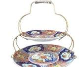 Vintage japanese japan imari ware tidbit serving set plates porcelain rl-123