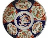 Antique japanese imari hand painted blue white orange gold platter plate stamped