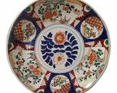 Antique japanese imari hand painted blue white orange gold platter plate
