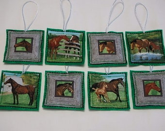 Horse Ornaments Set of 8, Quilted Fabric Horse Ornaments 8, Horse Gift Tags Set of 8