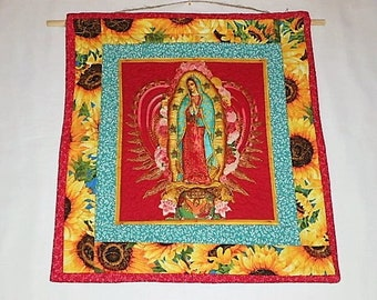 Our Lady Of Guadalupe Wall Hanging, Quilted Our Lady Decor, Virgin Mary Fabric  Wall Hanging, Mexican Wall Hanging, Religious Wall Hanging