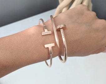 414e9f8a436 Double T Bangle Bracelet - Stainless Steel with Charm.