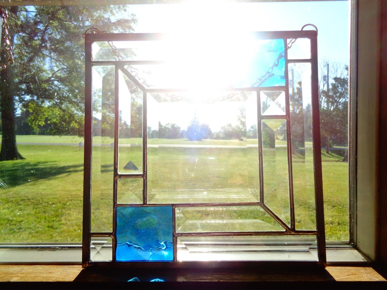 Suncatcher with Bevels and Blue Glass
