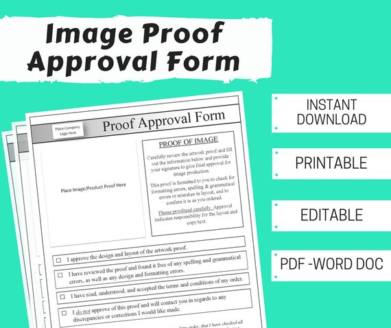 image proof approval for customer form printable editable