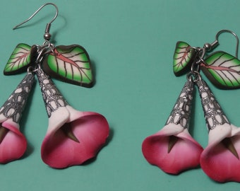 Polymer Clay Earrings Purple Calla Lily with Leaves
