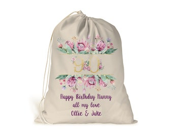 90th BIRTHDAY COTTON GIFT BAG PERSONALISED Present