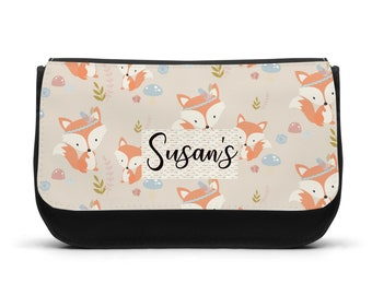 Personalised Pencil Case Girls Fox Foxes Woodland Make up Bag Gift Birthday Xmas