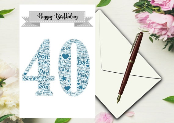 Personalised Word Art 40th Birthday Card SonBrother
