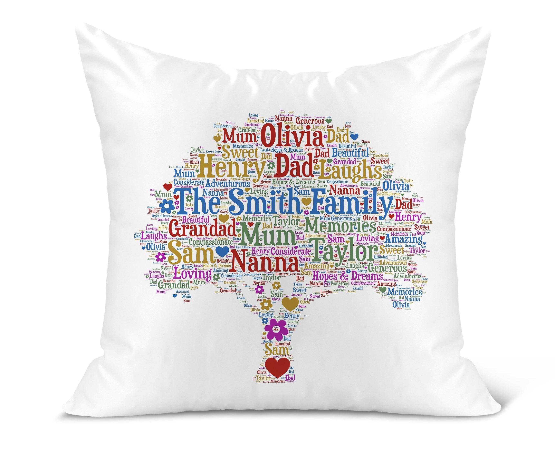 Nan Mum Personalised Word Art Cushion Thank you,70th 80th 90th Birthday Gift