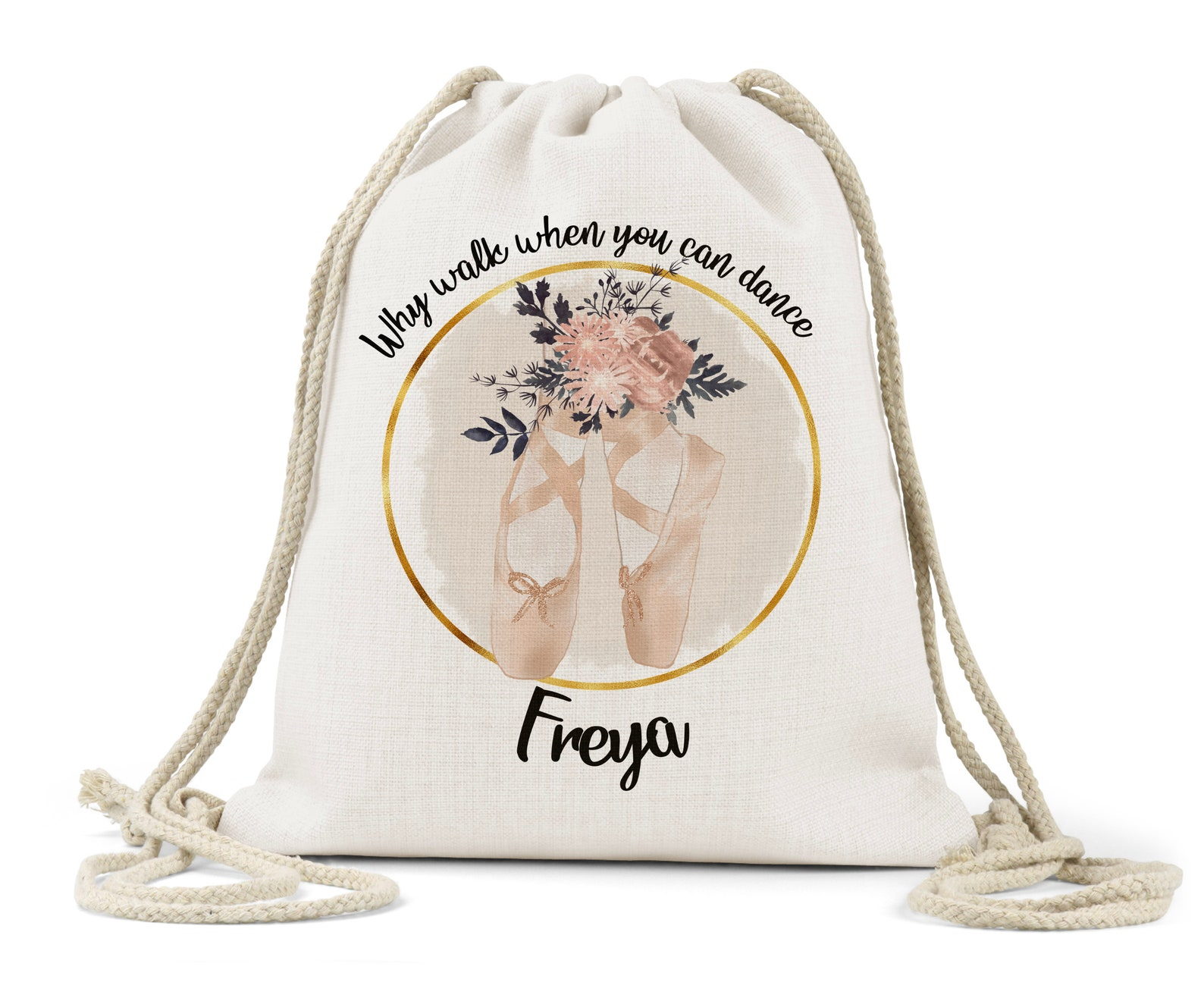 personalised girls drawstring bag, linen,dancer, ballet, dancing shoes, daughter, teacher, god-daughter, niece, sister gift