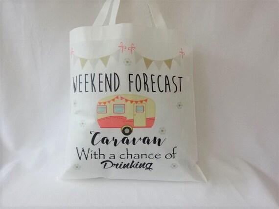 Caravane sac cabas Shopping bag, réutilisable, lavable, Nan, maman, amie, Humour Fun blague cadeau week-end prévisions, Chance de boire