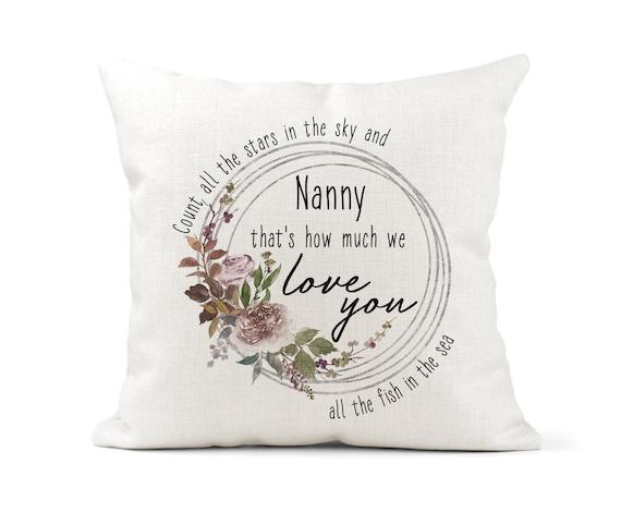 Birthday Gift Nan Grandma Fun Gold Letters Cream Cushion Nanny Glam-ma