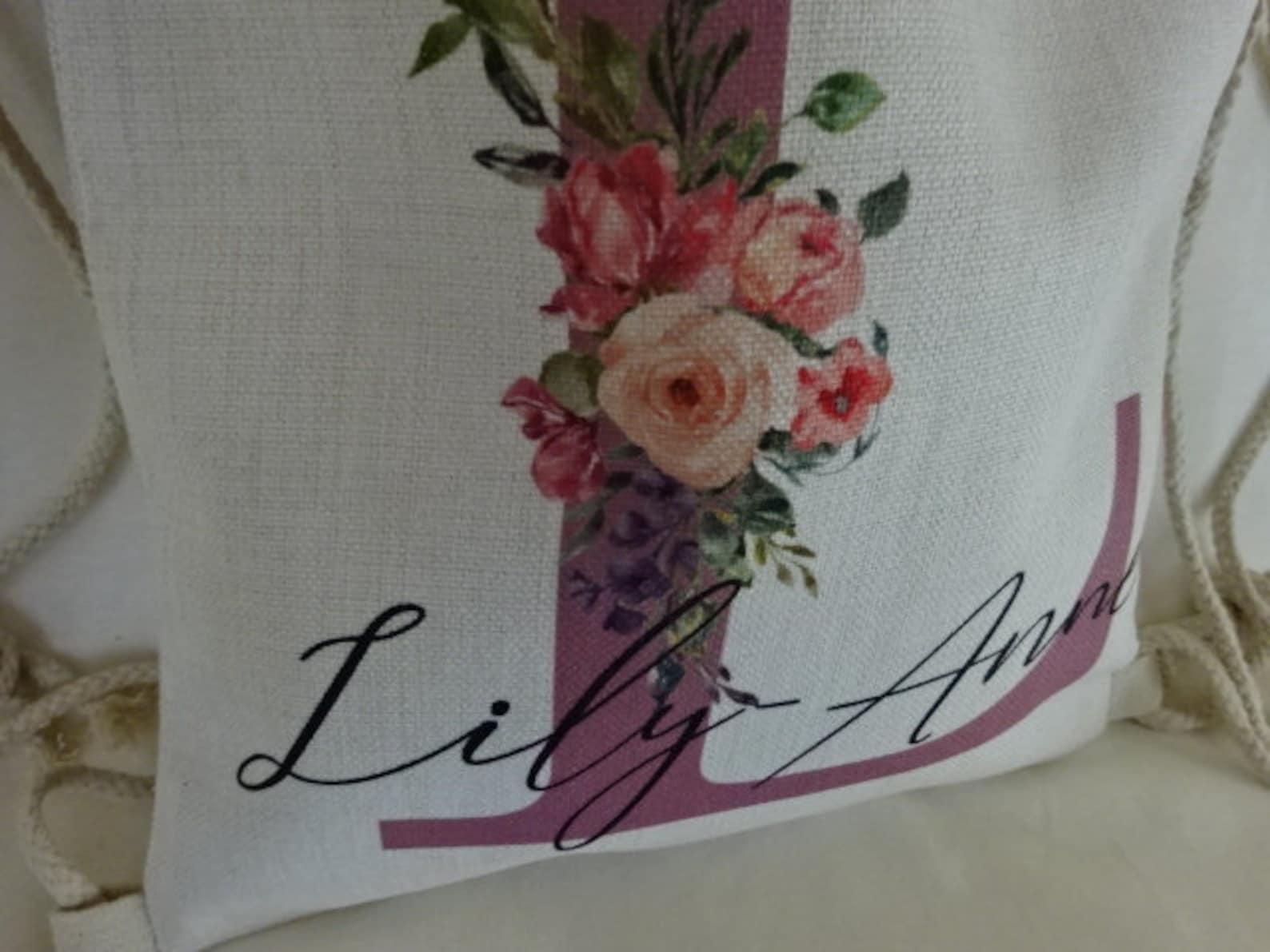 personalised girls drawstring bag, linen,dancer, ballet, dancing shoes, daughter, teacher, god-daughter, niece, sister gift